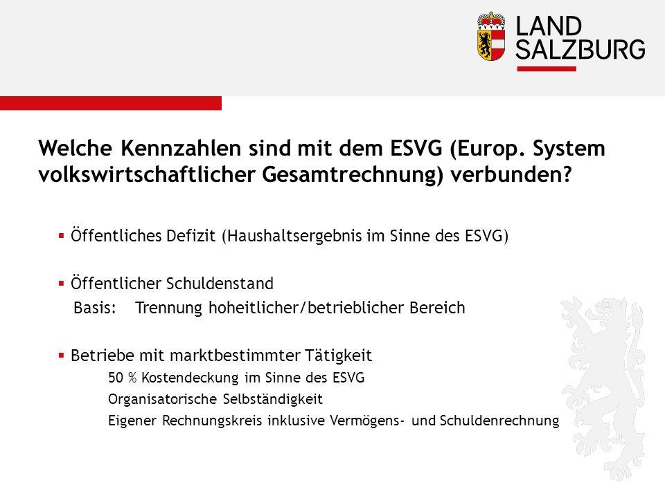 Welche Kennzahlen sind mit dem ESVG (Europ