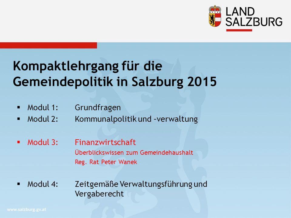 Kompaktlehrgang für die Gemeindepolitik in Salzburg 2015