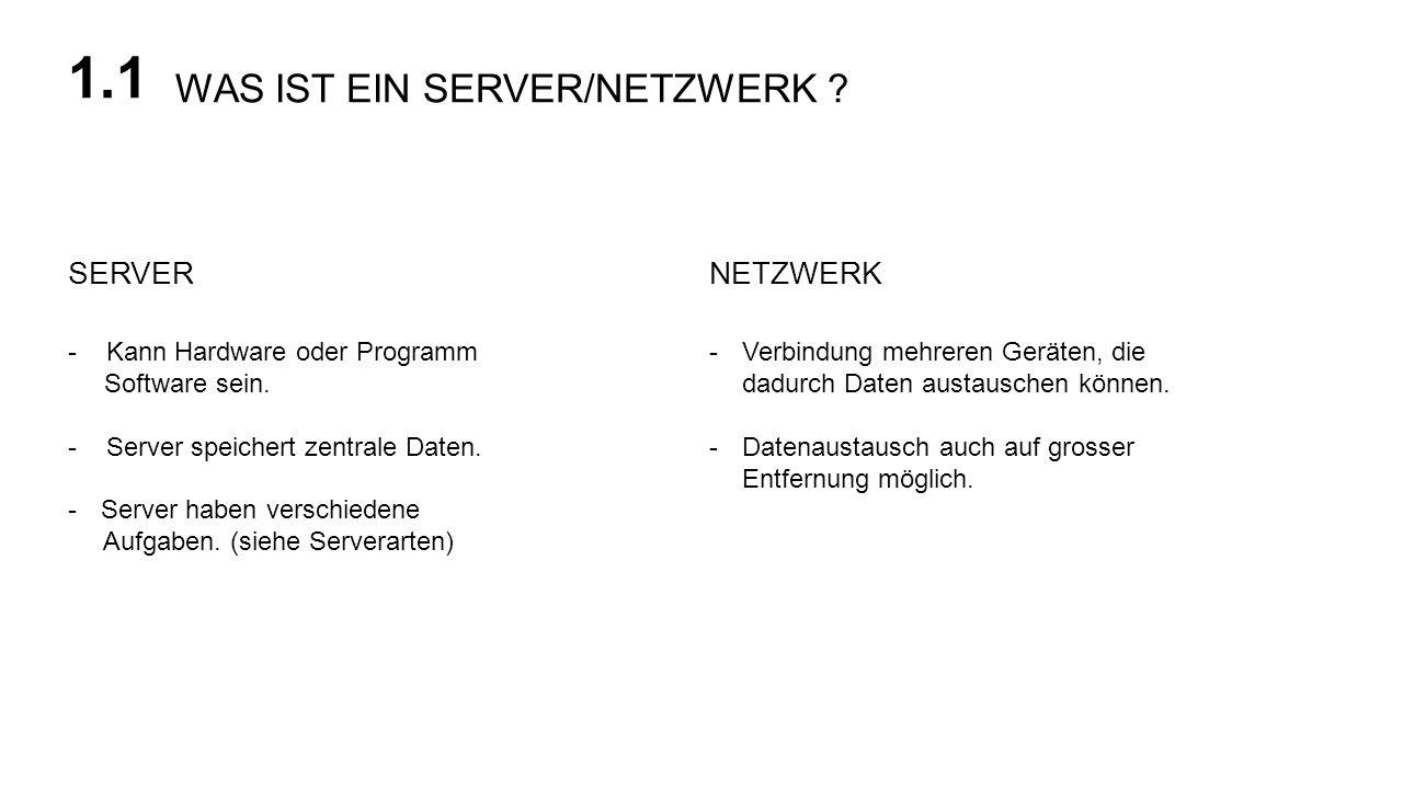 1.1 WAS IST EIN SERVER/NETZWERK SERVER NETZWERK