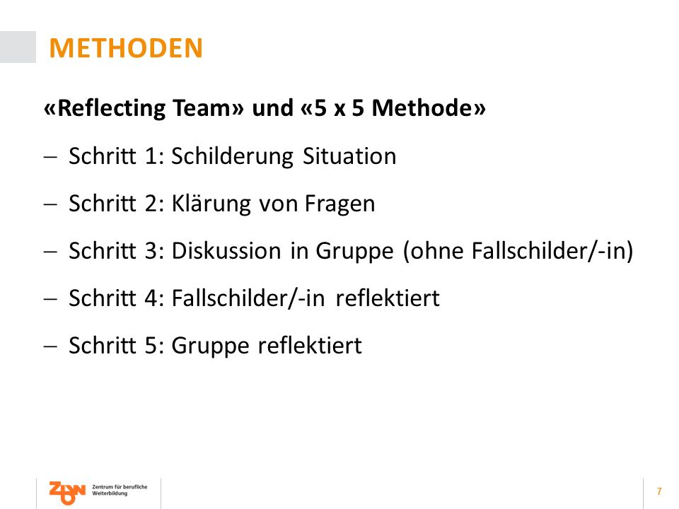 Methoden «Reflecting Team» und «5 x 5 Methode»