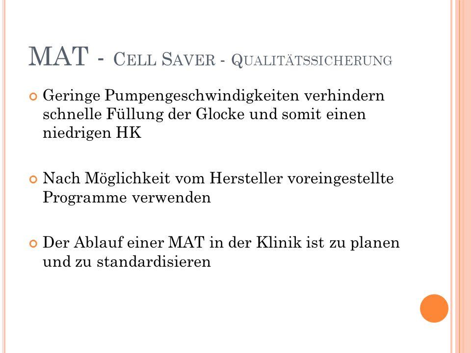 MAT - Cell Saver - Qualitätssicherung