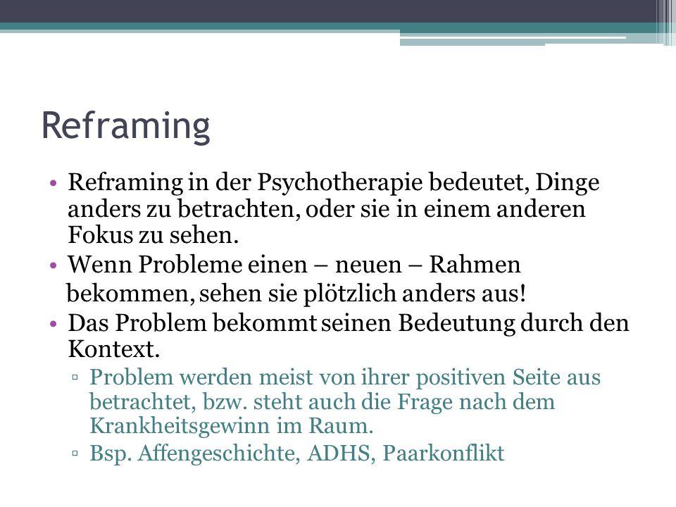 Reframing Reframing in der Psychotherapie bedeutet, Dinge anders zu betrachten, oder sie in einem anderen Fokus zu sehen.