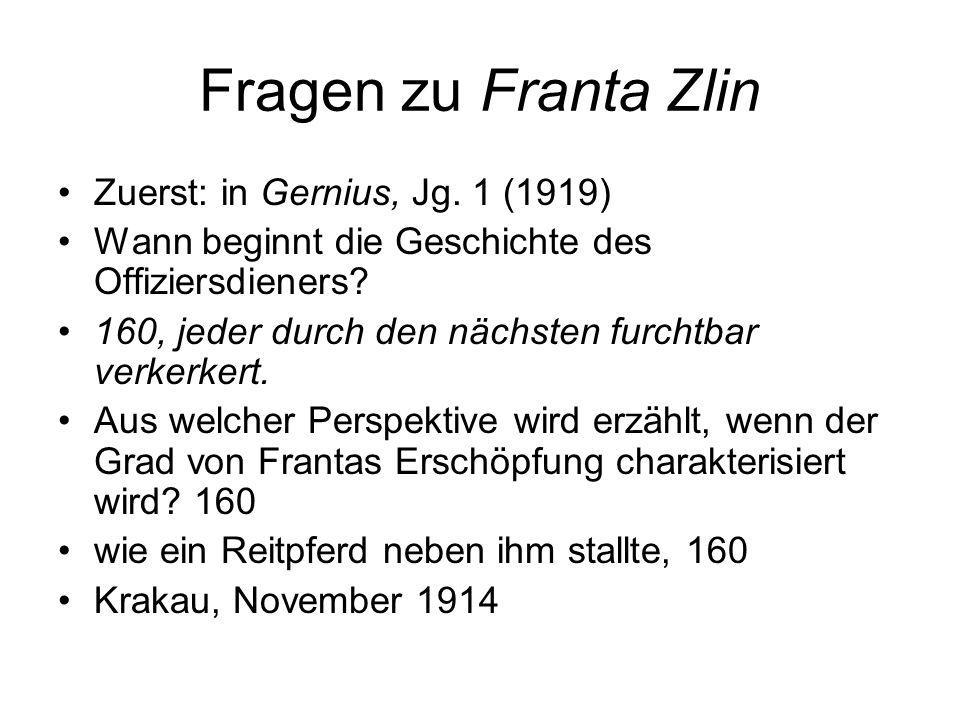 Fragen zu Franta Zlin Zuerst: in Gernius, Jg. 1 (1919)