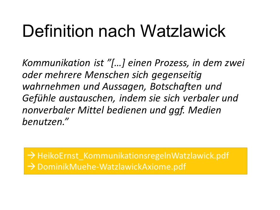 Definition nach Watzlawick