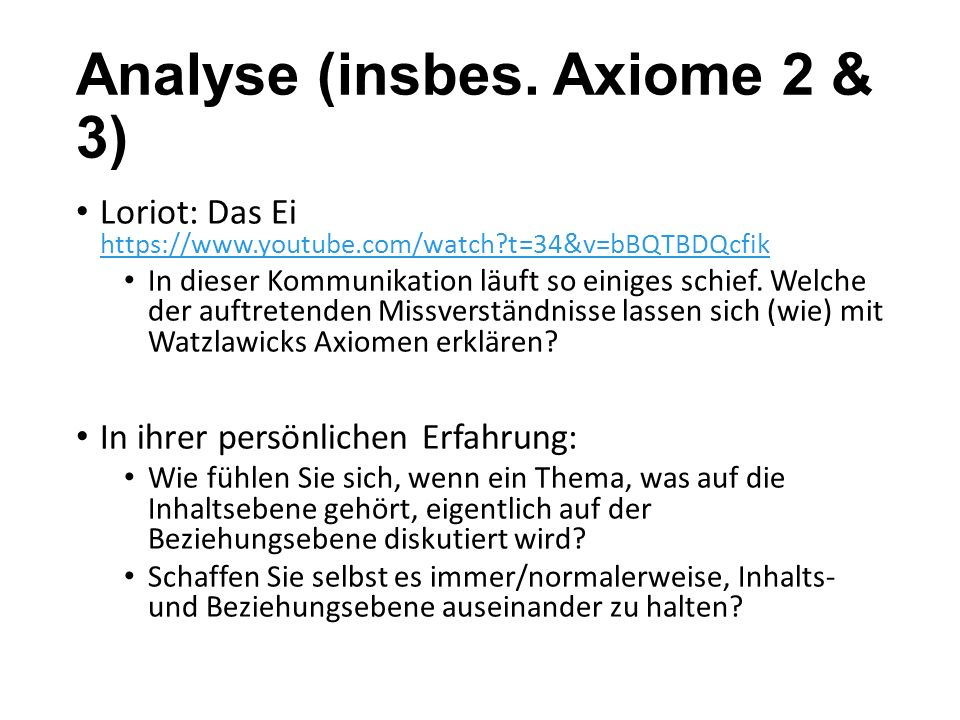Analyse (insbes. Axiome 2 & 3)