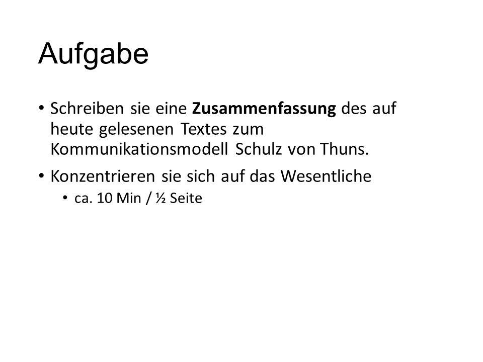 Aufgabe Schreiben sie eine Zusammenfassung des auf heute gelesenen Textes zum Kommunikationsmodell Schulz von Thuns.