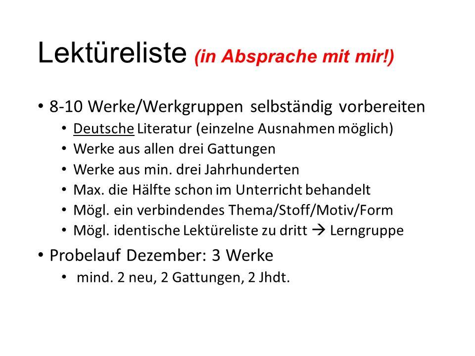 Lektüreliste (in Absprache mit mir!)