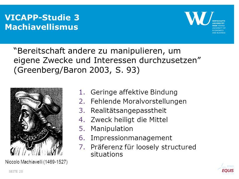 VICAPP-Studie 3 Machiavellismus