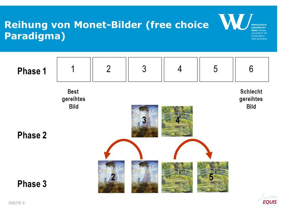 Reihung von Monet-Bilder (free choice Paradigma)