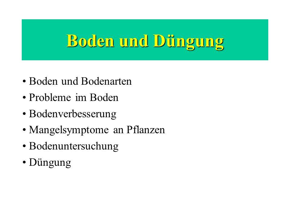 Boden und Düngung Boden und Bodenarten Probleme im Boden