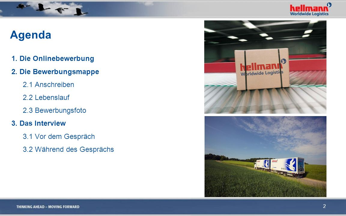 Agenda 1. Die Onlinebewerbung 2. Die Bewerbungsmappe 2.1 Anschreiben