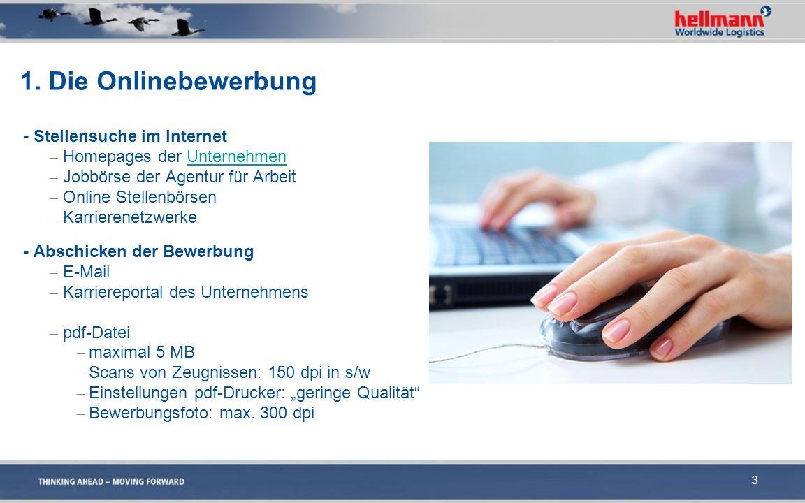 1. Die Onlinebewerbung - Stellensuche im Internet