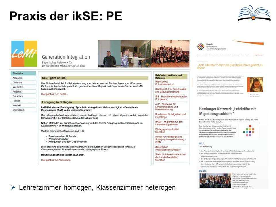 Praxis der ikSE: PE Lehrerzimmer homogen, Klassenzimmer heterogen
