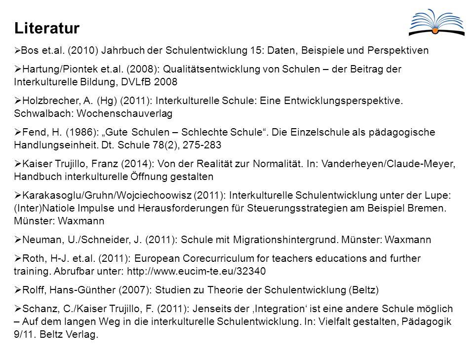 Literatur Bos et.al. (2010) Jahrbuch der Schulentwicklung 15: Daten, Beispiele und Perspektiven.