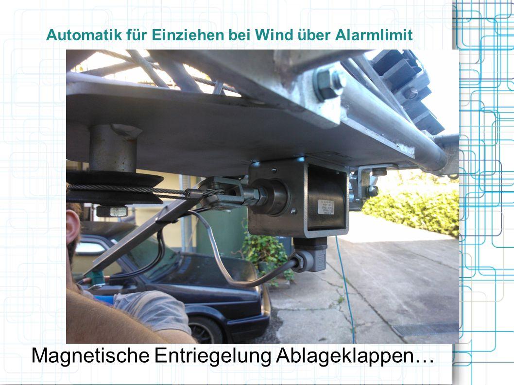 Automatik für Einziehen bei Wind über Alarmlimit