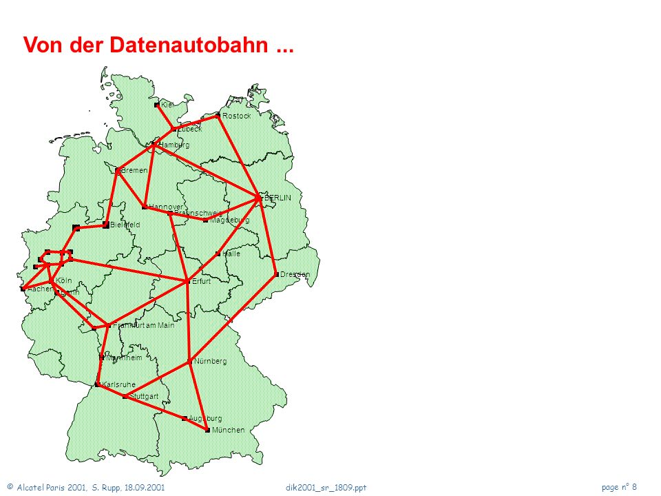Von der Datenautobahn ... Aachen Augsburg BERLIN Bielefeld Bonn