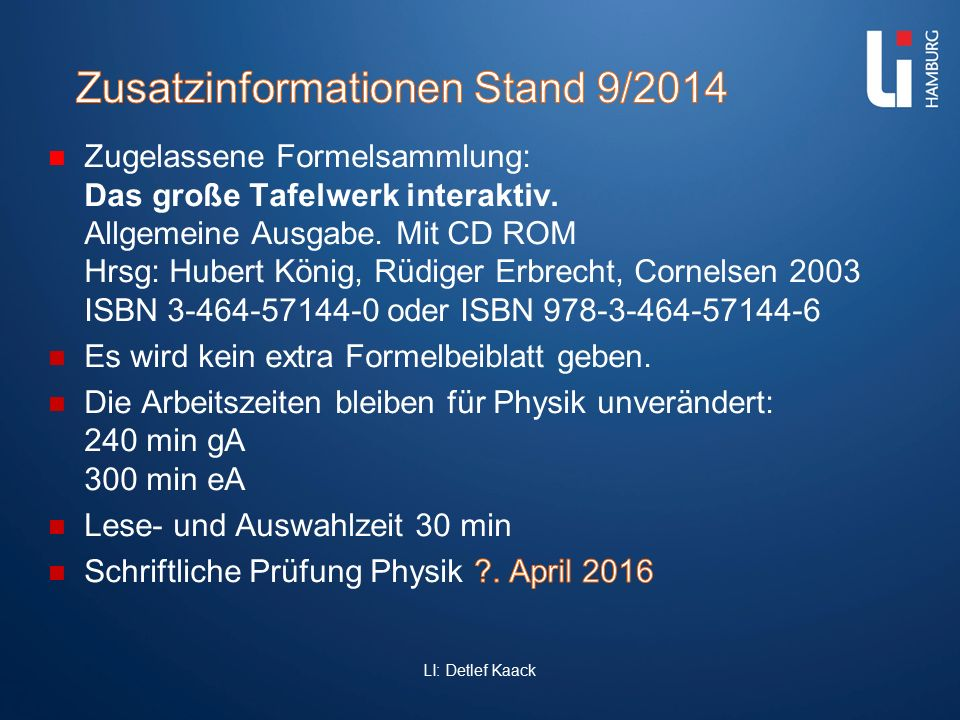 Zusatzinformationen Stand 9/2014