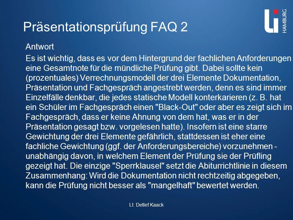 Präsentationsprüfung FAQ 2