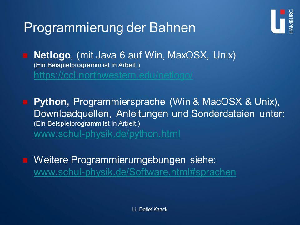 Programmierung der Bahnen