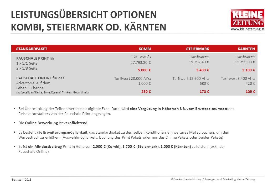 Leistungsübersicht Optionen Kombi, Steiermark od. Kärnten