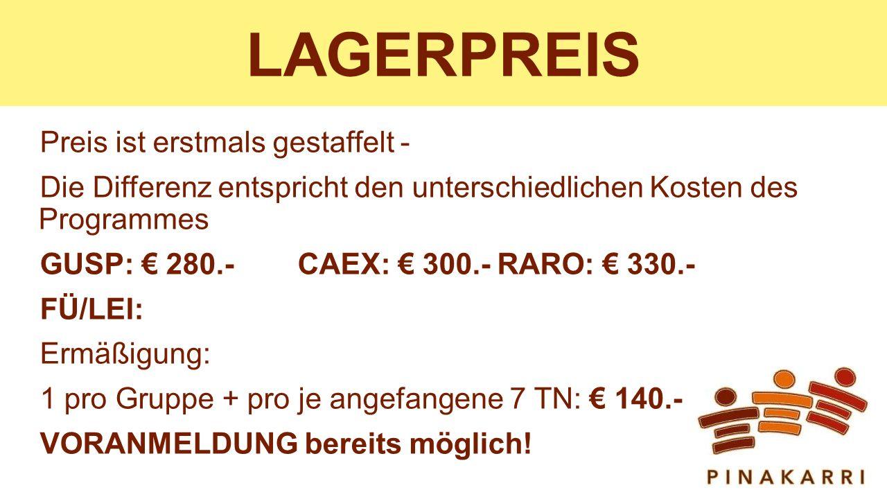 LAGERPREIS Preis ist erstmals gestaffelt -
