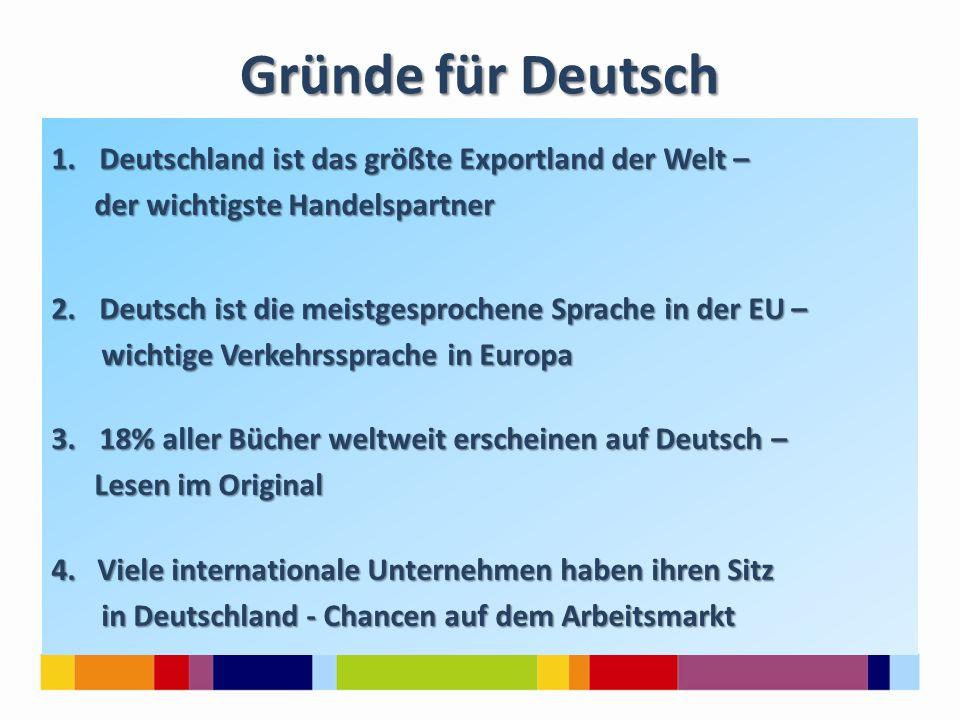 Gründe für Deutsch Deutschland ist das größte Exportland der Welt –