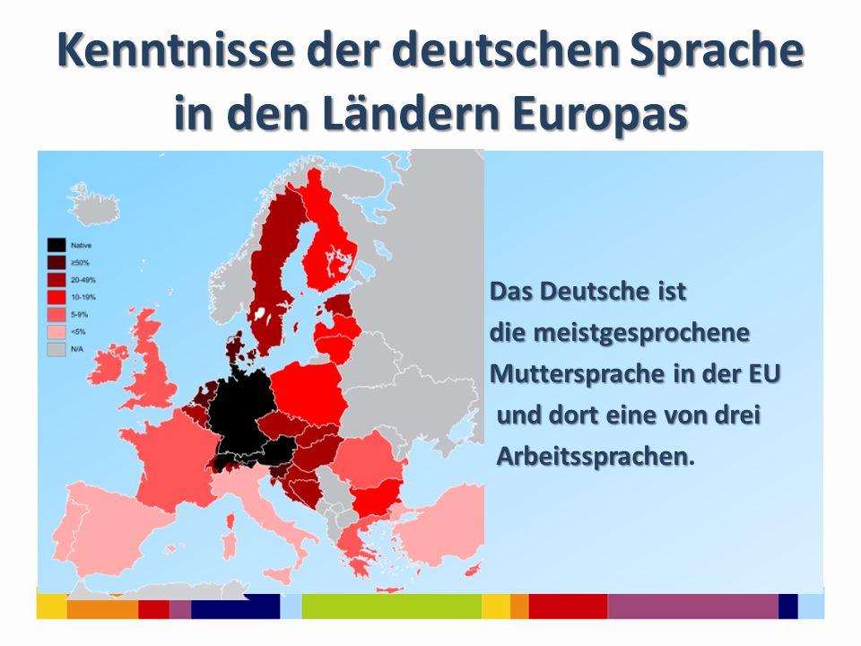 Kenntnisse der deutschen Sprache in den Ländern Europas