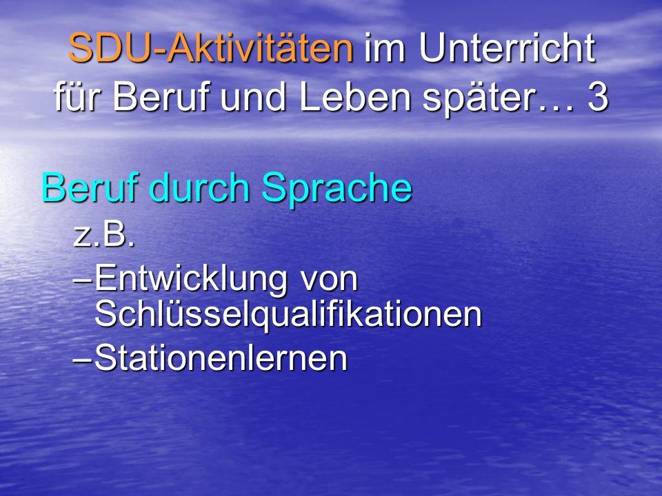SDU-Aktivitäten im Unterricht für Beruf und Leben später… 3