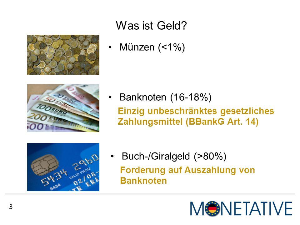 Was ist Geld Münzen (<1%) Banknoten (16-18%)