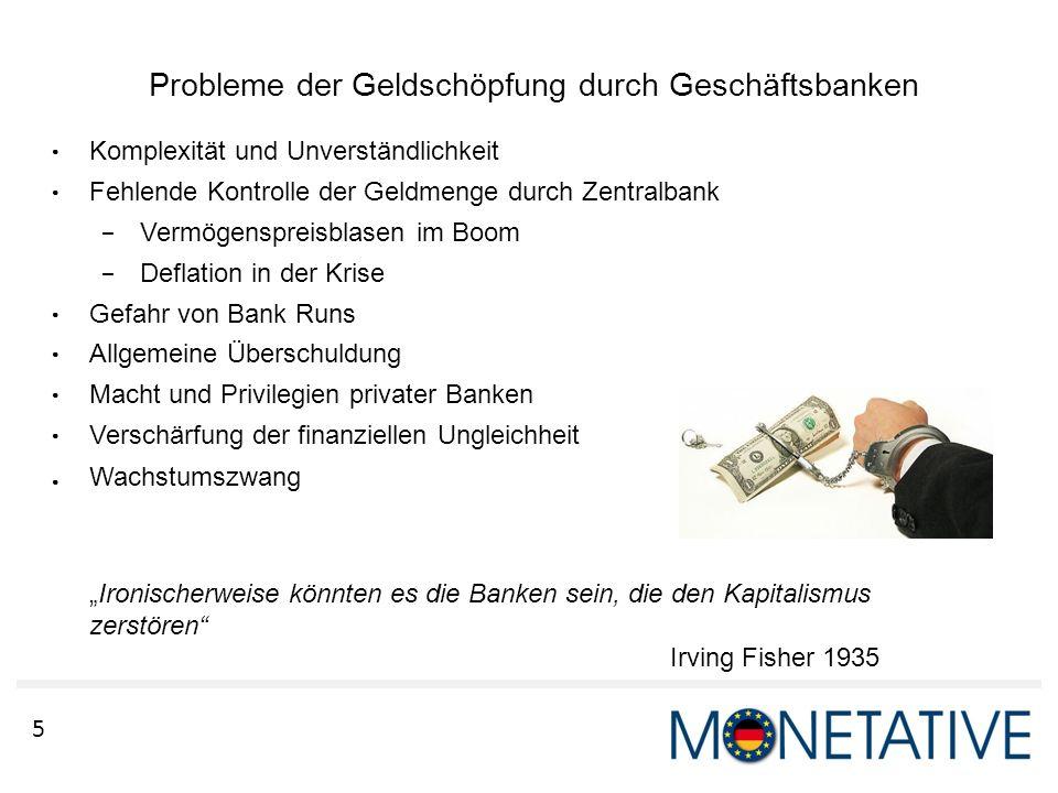 Probleme der Geldschöpfung durch Geschäftsbanken