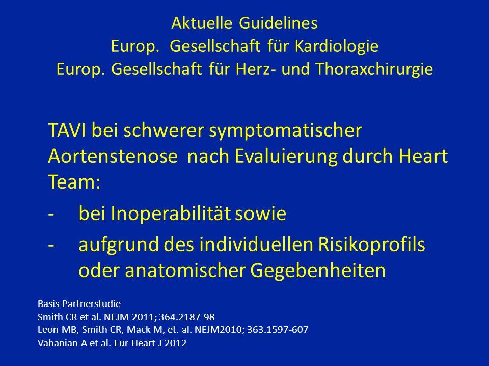 Aktuelle Guidelines Europ. Gesellschaft für Kardiologie Europ