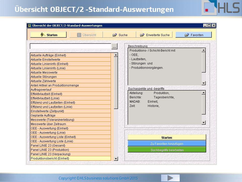 Übersicht OBJECT/2 -Standard-Auswertungen