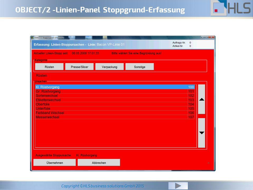 OBJECT/2 -Linien-Panel Stoppgrund-Erfassung