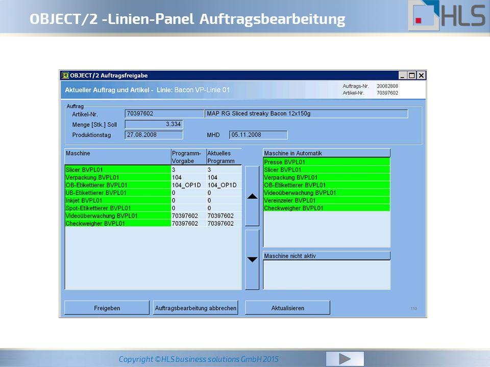 OBJECT/2 -Linien-Panel Auftragsbearbeitung