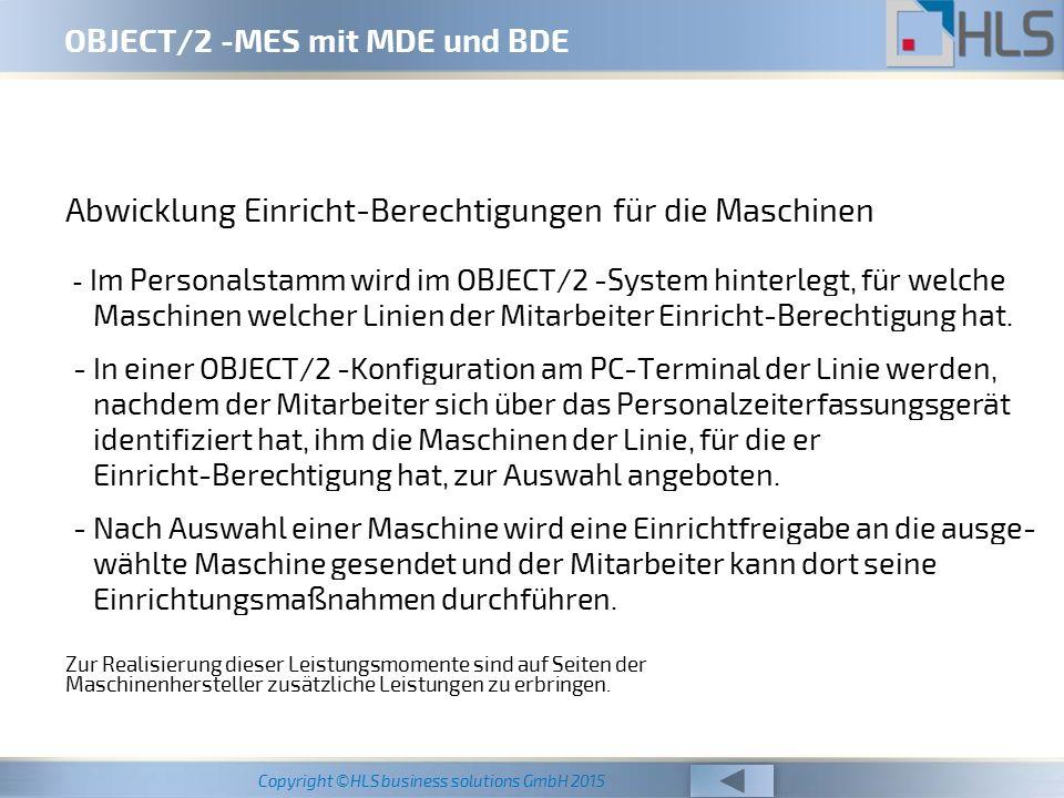 OBJECT/2 -MES mit MDE und BDE