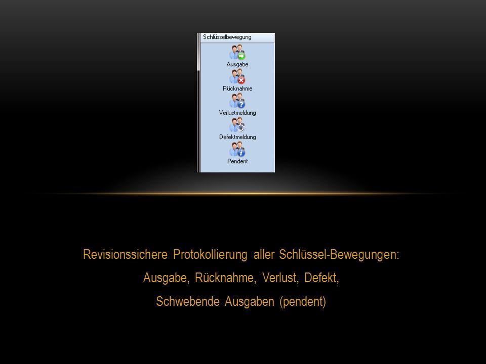 Revisionssichere Protokollierung aller Schlüssel-Bewegungen: