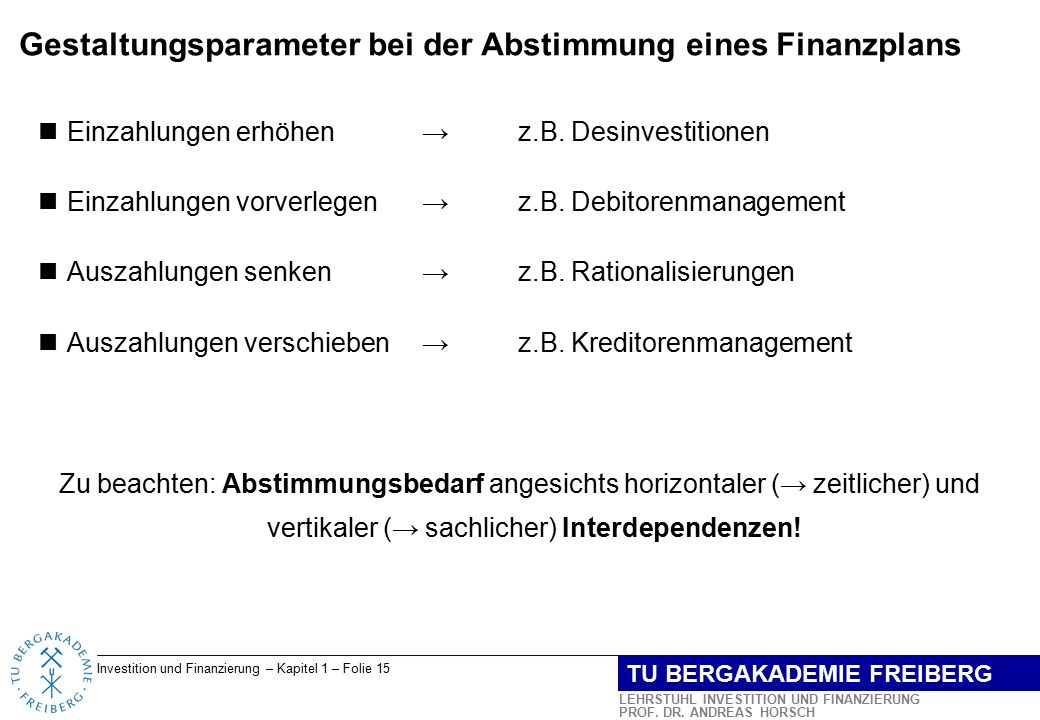 Gestaltungsparameter bei der Abstimmung eines Finanzplans