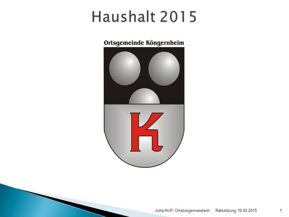 Haushalt 2015 Jutta Hoff, Ortsbürgermeisterin Ratssitzung 19.02.2015