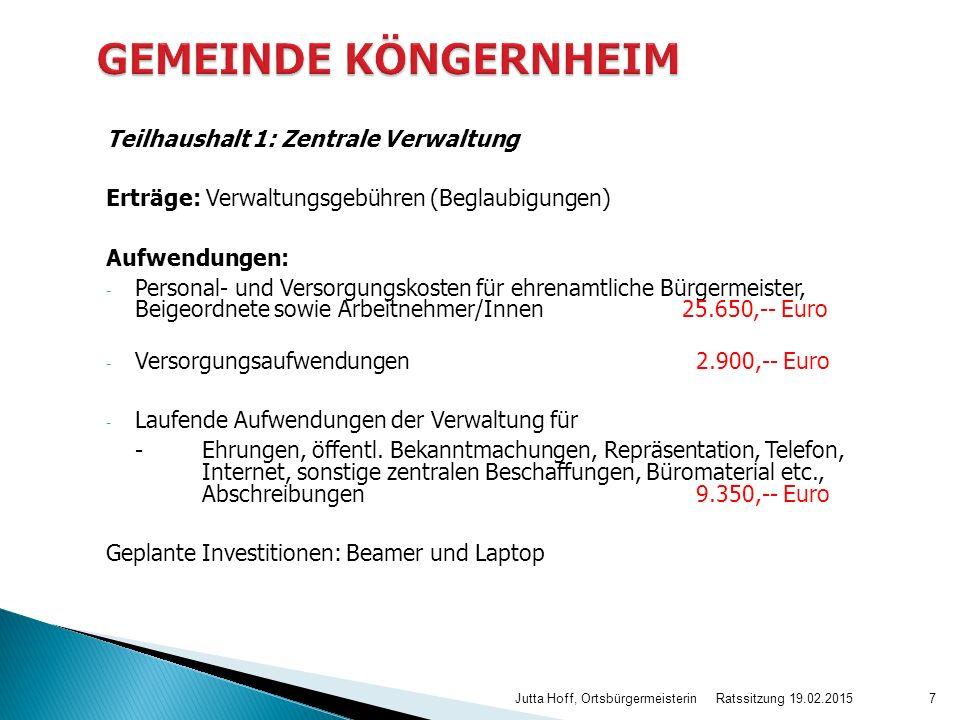 GEMEINDE KÖNGERNHEIM Teilhaushalt 1: Zentrale Verwaltung