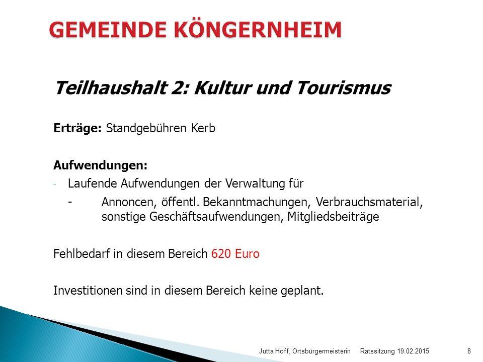 GEMEINDE KÖNGERNHEIM Teilhaushalt 2: Kultur und Tourismus