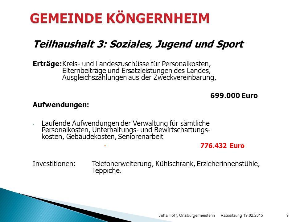 GEMEINDE KÖNGERNHEIM Teilhaushalt 3: Soziales, Jugend und Sport
