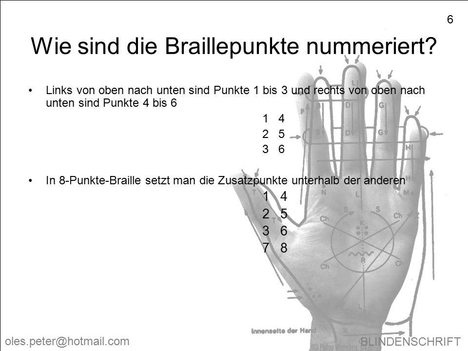 Wie sind die Braillepunkte nummeriert