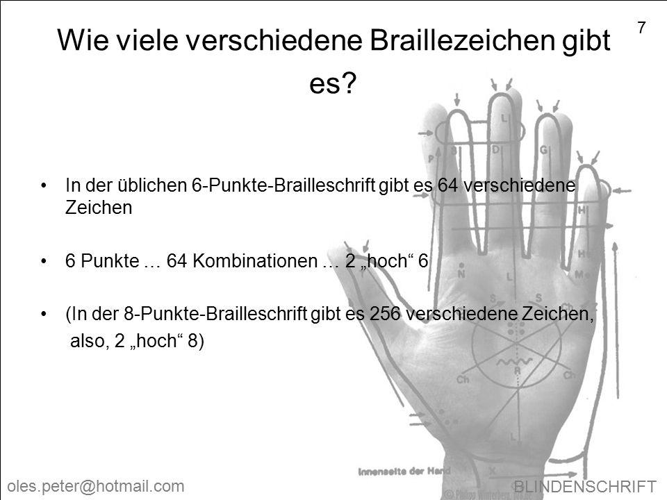 Wie viele verschiedene Braillezeichen gibt es