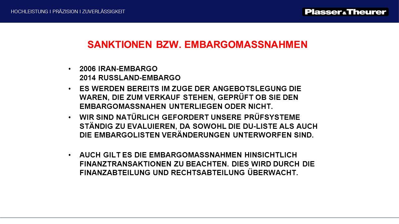 SANKTIONEN BZW. EMBARGOMASSNAHMEN