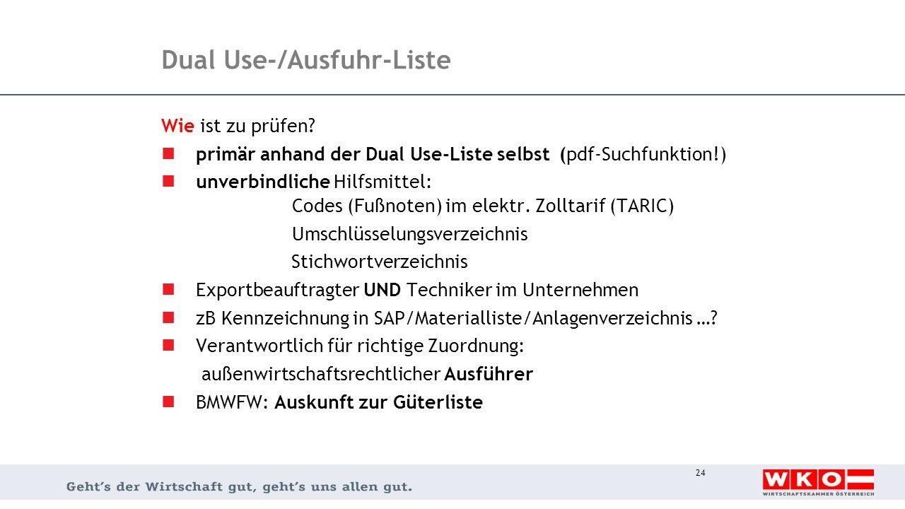 Dual Use-/Ausfuhr-Liste