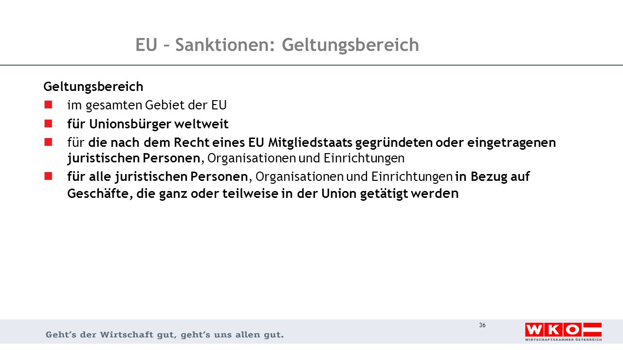 EU – Sanktionen: Geltungsbereich