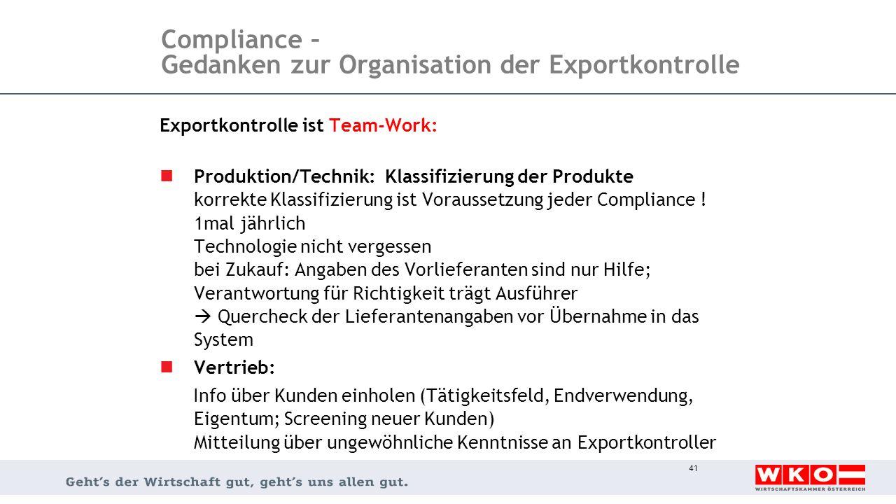 Compliance – Gedanken zur Organisation der Exportkontrolle