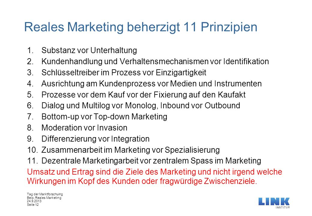 Reales Marketing beherzigt 11 Prinzipien