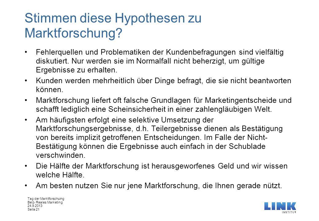 Stimmen diese Hypothesen zu Marktforschung