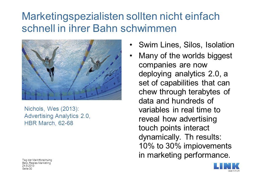 Marketingspezialisten sollten nicht einfach schnell in ihrer Bahn schwimmen